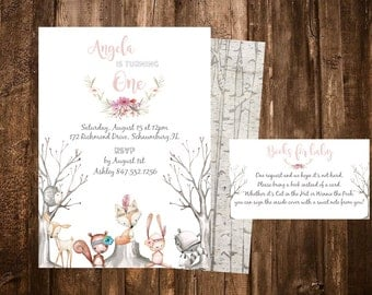 Woodland Birthday Invitation- Woodland Animal Birthday, First Birthday, Woodland Baby Shower Invitation, Deer Invitation, Digital,