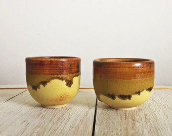 Sake Cups - Set of 2 - Yellow and Brown Sake Cups - Handmade Pottery - Shot Glass - Espresso Cup - Tenmoku