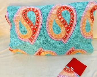 African pillow shams (2) - two standard pillow cases - Turquoise, lavender, orange, santa fe