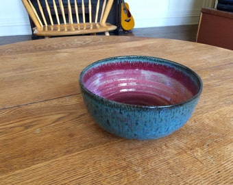 Large Ceramic Bowl- handamde handthrown pottery large fruit bowl with unique one of a kind rustic glaze