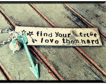 Find your tribe - Charm Necklace/Keychain - Hand Stamped Pewter - Turquoise Patina Arrow//Aqua Terra Jasper Stone - Friendship/Family Gift