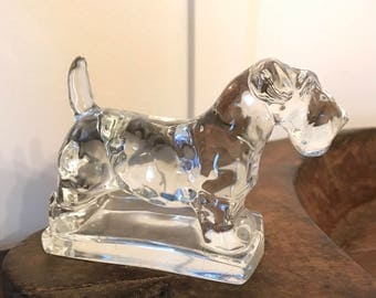 Vintage Scottie Dog Terrier Clear (Imperial) Glass Paperweight Figurine