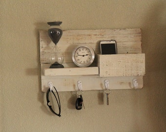 White shelf/key hook made from reclaimed wood