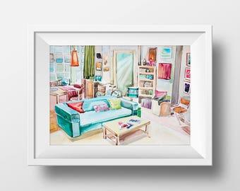 Wall Art Watercolor Big Bang Theory Penny's Apartment Interior Print,Sheldon Cooper,Tv Show Poster,Leonard Penny Howard Ray Amy,Printable