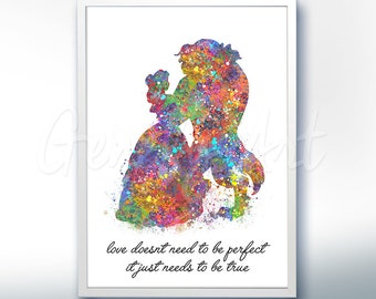 Disney Princess Belle Beauty and the Beast Watercolor Quote [4] Poster Print - Watercolor Painting - Watercolor Art Kids Decor Nursery Decor