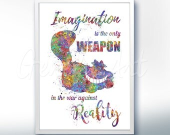 Disney Alice in Wonderland Cheshire Cat Quote [3] Watercolor Poster Print - Watercolor Painting - Watercolor Art Kids Decor Nursery Decor