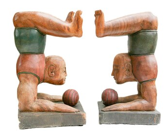 Pair of Wooden Acrobats Hand Carved Table Bases