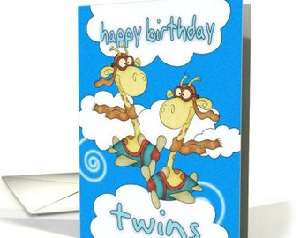 twin birthday cards  etsy, Birthday card