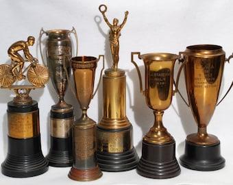 Price Reduced!  7 Cycling/Racing Trophy's, Racing Helmet, St. Louis, Philadelphia, New York, New Jersey, LIWA, 1938-1950