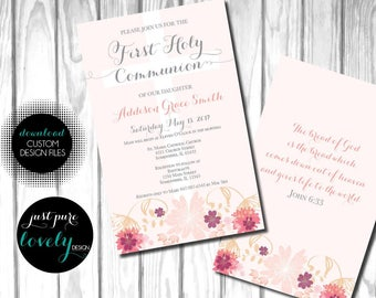 Girl First Holy Communion Invitation | Light Pink | Flowers | Cross | Printable