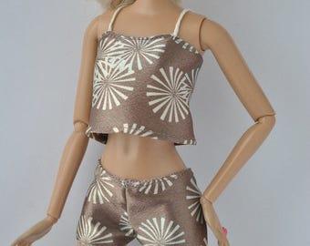 Beautiful handmade lingerie set,satin pajamas,short and top  for Barbie dolls