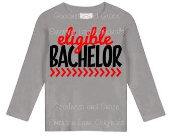 Eligible Bachelor Valentine Shirt - Boy's Valentine's Day Monogram Love Shirt - Heartbreaker Shirt - Romeo Shirt - Bachelor Shirt - Heart