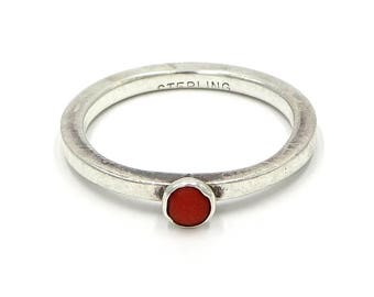 Sterling Silver And Coral Stackable Ring