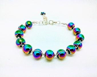 Rainbow haematite and wire bracelet