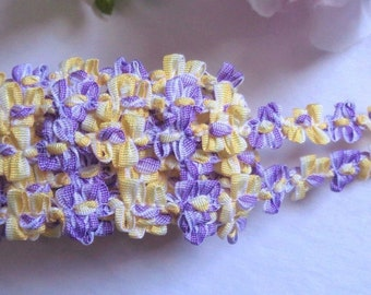 French Rococo Ombre Ribbon, 7/16 inchWhite - Purple - Canary selling by the yard