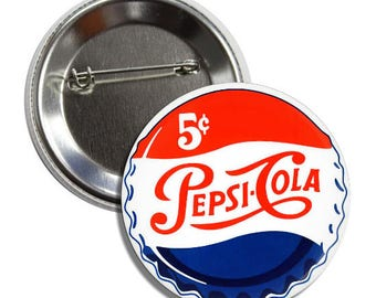 "Old Pepsi Bottle Cap - 1.5"" and 2.25"" Pinback Button"