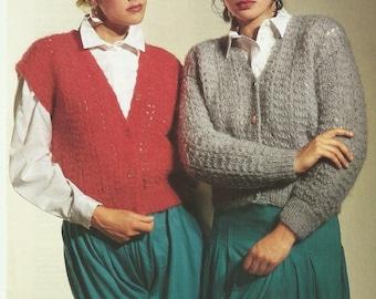 pdf Vintage Ladies Cardigan and Waistcoat Knitting Pattern.