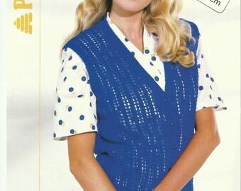 Ladies Lace Rib Waistcoat Knitting Pattern.