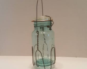 Vintage Blue Made in Canada Perfect Seal Quart Mason Jar with Wire Lifter