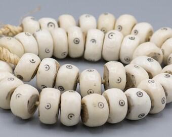 "40 African Kenya Batik ""Evil Eye"" Bone Beads 14x24mm  26"" Strand Ethnic Boho Jewelry Supply"