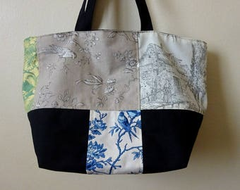 Patchwork Tote Bag with French Toile de Jouy - Uniqu piece