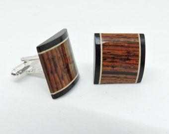 Wood Cufflinks,Cocobolo Cufflinks, Maple and Ebony Cufflinks,Wedding Cufflinks, Silver Plated Cufflinks