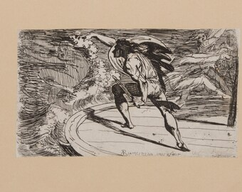 Cormar Attacking the Spirit of the Waters, etching made in England 1819-22, collectible artwork, epic poem plot print, battle scene, gift