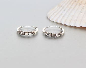Silver Ear Hoops, 12mm Oxidized Silver Hoop, Gift Earrings, Body Jewelry, Bohemian Hoops, Minimal Earrings, Casual Hoops, BohoChic (E45)