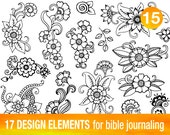 17 PRINTABLE TEMPLATES for bible journaling verse art, illustrated faith bible clipart stamps, scripture art printable stencils.