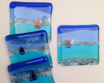 Fused Glass Seaside Coasters