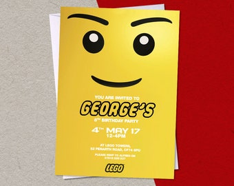 12 Printed LEGO Personalised Birthday Party A6 Invitations with/without white envelopes
