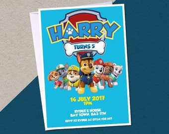 12 Paw Patrol Personalised Birthday Party A6 Invitations with/without white envelopes