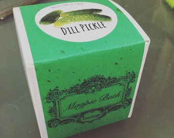Dill pickle surprise bath bomb with earrings gift for her, bridesmaid gift, teacher gift, fun gift for kids