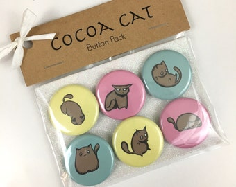 Cocoa Cat Pinback Button Set - 6 Pack - 1.25 inch diameter - Cute Chubby Kittens