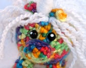 Rainbow Unicorn Mini Amigurumi, White Wavy Hair, Amigurumi Kawaii Unicorn Plush, Rainbow Unicorn, Unicorn Plush, crochet unicorn, Unicorn
