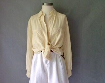 Vintage silk color stripe button down minimalist blouse/shirt/top women's size S/M