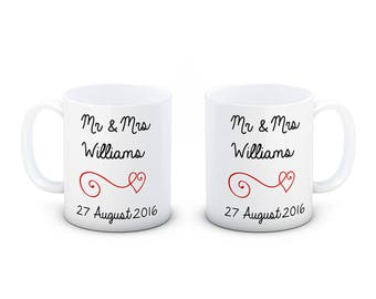 Personalised Pair of Ceramic Wedding Mugs - Beautifully Hand Decorated