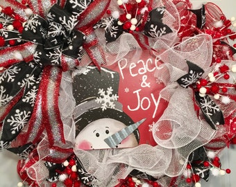Snowman Deco Mesh Wreath, Christmas Wreath, Christmas Decor
