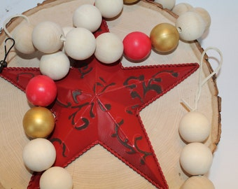 Wooden Bead Garland - Wood Beaded Garland in Red and Gold, casa beads, wood garland, wood beads, wood bead garland, wooden garland, garland