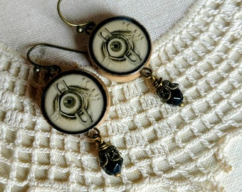 Evil Eye upcycled bingo chip earrings with Victorian human eye images