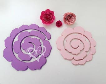 DIY paper roses, Spiral paper roses, Spiral roses cut outs