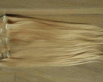 "Clip in extension,remy hair,european hair,Weft hair,22"",150 gram, High quality,Light blonde,Blond"
