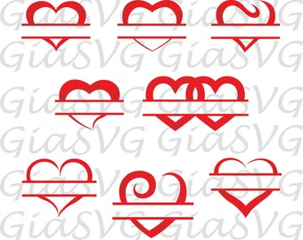 Split Hearts SVG Cut files, Hearts SVG or DXF, Valentine svg, Love svg, for Cricut, Silhouette, Hearts for all cutting machines