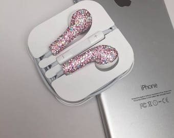 Lovely Attractive Bling Bling Luxurious Fancy Desirable PINK Crystal Rhinestone Earphones/Earbuds with Built in Microphone-Apple