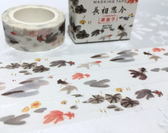Gold fish washi tape 7M ink painting fish art Goldfish red fish Black fish deco masking tape watercolor fish sticker tape scrapbook gift