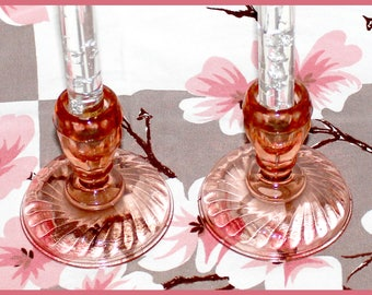 Rosaline PINK Swirl Pressed Glass Candle Holders, Set of 2, Made in France by Arcoroc, Vintage - 1970s