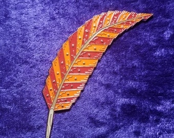 Free Yourself Feather Hat Pin 3.75 Inch ( Orange and Red Variant)