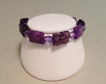"""Dark Purple Agate Stretchy Bracelet - Wrist Size 6-3/4"""""""