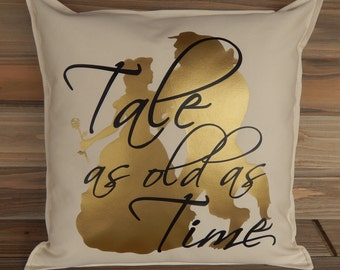 Beauty and The Beast Inspired Pillow Cover 16 x 16,  Disney Pillow, Belle Pillow, Disney Home Decor, Decorative Pillow, Throw Pillow