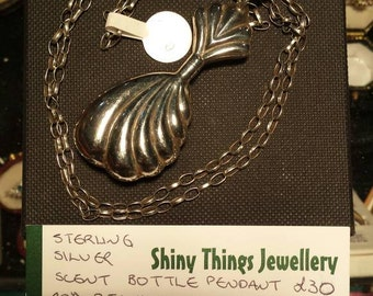 """Sterling silver perfume bottle pendant with silver dipper and threaded closure. Now on 20"""" sterling silver belcher chain. Gift boxed."""
